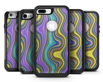 Bright Purple Teal and Mustard Yellow Color Waves - OtterBox Case Skin-Kit for the iPhone, Galaxy & More