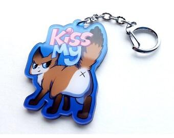 Kiss My Ass Cat Keychain, keychain, Kiss my butt, cute cats, sassy, cute, kawaii, adorable, cats, attitude, cat keychain, talk to the hand