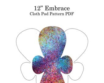 "The Happy Hippos 12""  Embrace Cloth Pad PDF Sewing Pattern and Instructions (Interchangable Mix and Match Sizes, Flares, and WIngs!)"