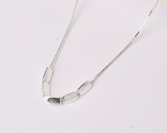 Very Cute Sterling Silver Necklace Box-chain small particles pendant necklace lovely Girls Gift Women
