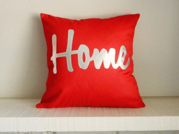 Home Pillow Cover with Metallic Silver Writing / Metallic throw cushion / Home Pillow / New Home Housewarming Gift / Home Decor