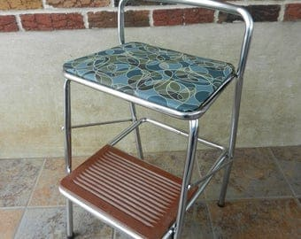 Vintage Cosco Step Stool and Chair, Folding Utility Stool, Kitchen Stool, Booster Seat, New Padding and Vinyl, Abstract Teal and Olive Vinyl