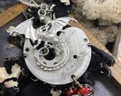 Dragon Heart Steampunk pocket watch handcrafted artisan jewelry necklace