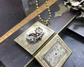 Book locket Steampunk necklace Handcrafted artistic jewelry -The Victorian Magpie