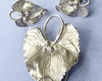 Vintage, Sterling 'Carl-Art' Signed Leaf Pin & Earrings Set
