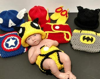 Captain America Baby Outfit Newborn Wolverine Costume Photo Prop Superhero Baby Crochet Outfit - Full Set Same Price!!!