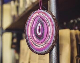 Pink Agate Wood Slice Painting, Wood Slice Acrylic Painting, Geode Painted Wood Slice Wall Hanging, Hand Painted Pink Agate Slice Painting