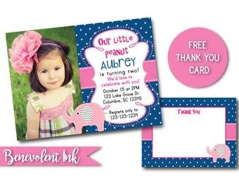 Elephant Second Birthday Party Invitation - Elephant Theme 2nd Birthday - Printable Photo Invite - Girls Birthday Ideas