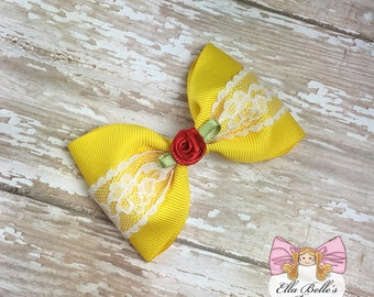 Belle Bow~ yellow hairbow, belle hairbow, belle hair bow, beauty and the beast bow