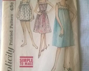 Vintage 1960s Simplicity Pattern no. 4484 Misses size 14 Nightgowns - Free US Shipping