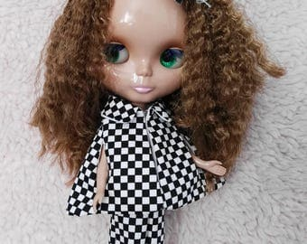 Blythe Doll Outfit black white checks Cloak & pants set