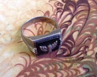 Thunderbird Ring Vintage Silver Onyx