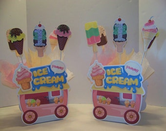 Ice cream theme centerpiece - double sided