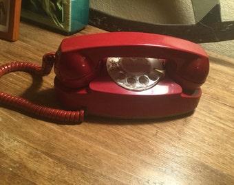 Vintage Red Princess Rotary Phone