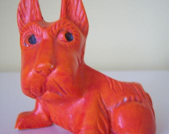 Vintage Orange Scottie Dog Planter