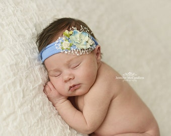 Periwinkle Newborn Photo Prop - Newborn Tieback, Newborn Tie Back, Vintage Tieback, Headband, Baby Halo, Victorian Tieback, Newborn Halo