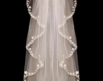 Cascade Cut Beaded Embroidery Wedding Veil in Elbow or Fingertip Length