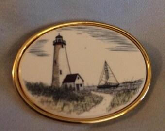 Vintage Lighthouse Faux Ivory Gold Tone