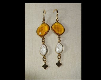 Quartz and goldplate earrings
