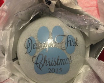 Dog Ornament / Dog's First Christmas Ornament / Pet Ornament / Dog Christmas Ornament