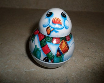 Jolly Wolly Christmas Ornament Snowman Unmarked