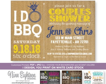 I Do BBQ Couples Shower INVITATION, Barbeque Bridal Shower. Custom Printable pdf and jpg invitation. I design, you print.