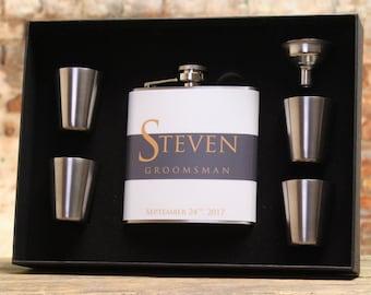 Gray Wedding, Groomsman Gift, Personalized Flask, Gray, Gold