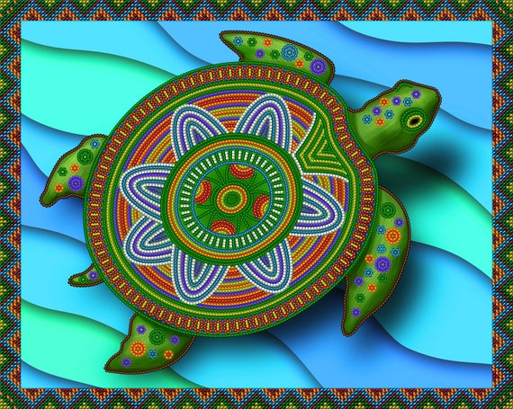 Imperial Turtle DIY beaded embroidery kit, beaded stitching, room wall decor, housewarming gift idea