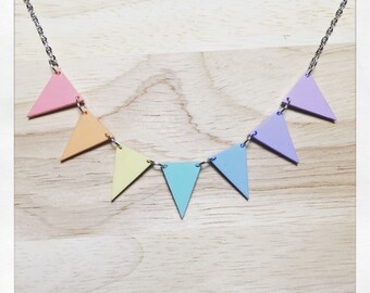 Handmade Small Pastel Rainbow Bunting Necklace