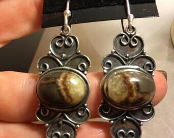 Vintage Style Prehnite 925 Sterling Silver Earrings