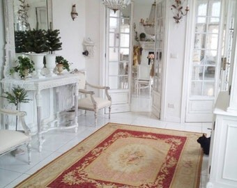 Aubusson french style needlepoint carpet area rug pastel Louis style,Versailles, Large,vintage,Cottage chic,Victorian roses,antique