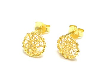 Gold-plated wire earrings 925 sterling silver