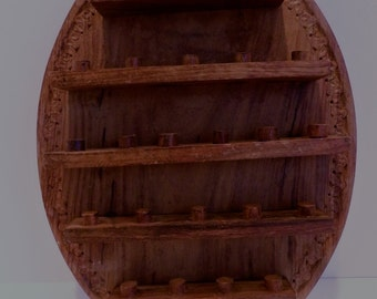 Wooden Oval Thimble Holder. Thimble Display Rack