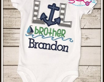Personalized Nautical Themed Lil Brother Shirt/Bodysuit