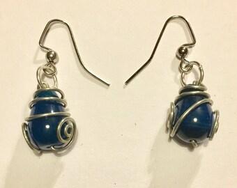 Wire Wrapped Blue Bead Earrings
