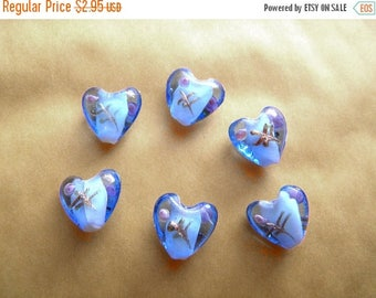 HALF PRICE 6 Blue Glass Heart Beads
