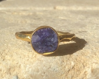 US 7.5, Raw Sapphire Ring, Raw Blue Stone Ring, Rough Gemstone Ring, Rough Sapphire Ring, Bridesmaid Jewellery