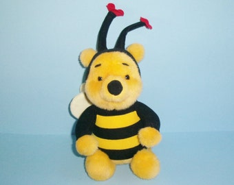 Plush Winnie The Pooh Bear In Honey Bee Costume 1997 Mattel Pooh Bumble Bee 9 Inches Tall Disney Plush Pooh Vintage 1990s