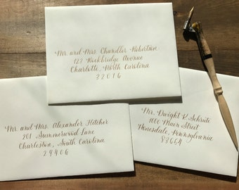 Envelope Calligraphy, Hand Addressed Envelopes, Wedding, Special Events, Semi-Formal Lettering