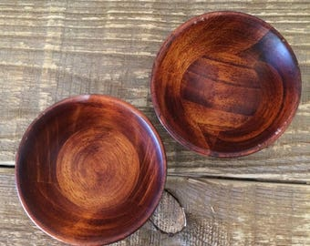 Vintage Pair of Wooden Pinch Condiment Bowls