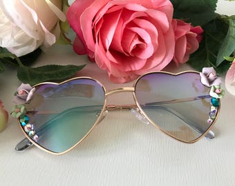 Heart Aviators with roses and crystals