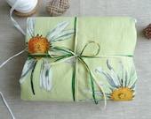 Linen tablecloth 120x220 cm Chamomile Tablecloth - Floral Linen Tablecloth - Chamomile White Green - Natural Linen - Modern Tablecloth