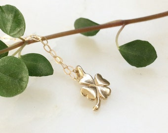 Four Leaves Clover Necklace - 9ct Yellow Gold Clover Necklace - Shamrock Necklace - Real Gold Necklace - Good Luck Charm Necklace