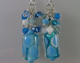 Turquoise Lampwork Glass and Swarovski Crystal Earrings; Ocean Blue Crystal Cluster Earrings; Sterling Silver and Swarovski Crystal Earrings