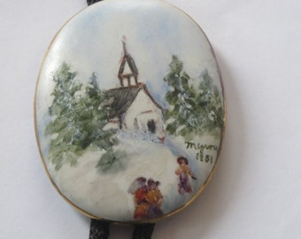 Hand Painted Signed Church  Chapel at Christmas in Woods  Artist Painter  Bolo Tie IC  Lot 16