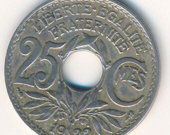 1922 France, Lindauer, 25 Centimes, Copper-nickel