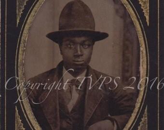 Vintage Tintype Photograph- African American Man