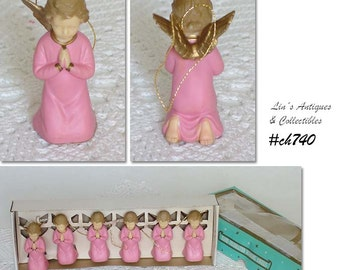 Set of 6 Vintage Praying Angel Ornaments in Original Box (Item #CH740)