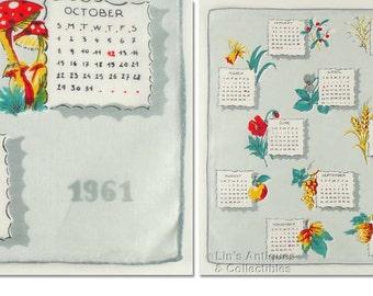 1961 Calendar Vintage Hanky Handkerchief (Inventory #M3694)