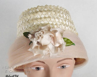 Vintage Beautiful Raffia Vintage Hat with Attached Rose and Netting Band at Lin's Antiques and Collectibles (Inventory #HAT174)